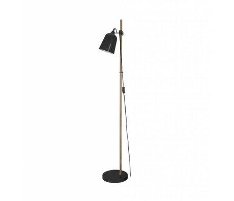 Leitmotiv Floor lamp Wood-like black metal Ø15x14x149cm