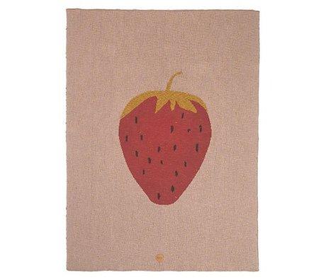 Ferm Living Deken strawberry roze katoen 80x100cm