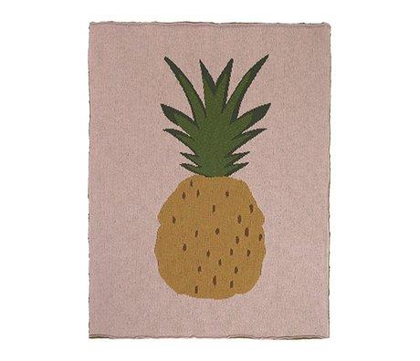 Ferm Living Ananas couverture rose 80x100cm coton brun