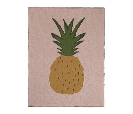 Ferm Living Deken Pineapple roze bruin katoen 80x100cm