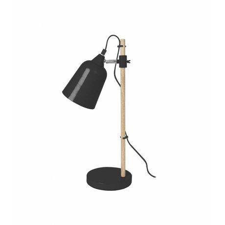 Leitmotiv Tafellamp Wood-Like zwart metaal Ø12x14x48,5cm