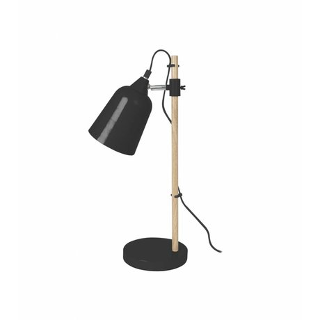 Leitmotiv Tischlampe Holz-Like Black Metal Ø12x14x48,5cm