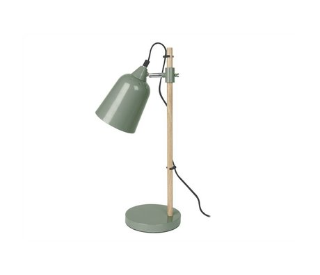 Leitmotiv Table lamp Wood-like green metal ø12x14x48,5cm