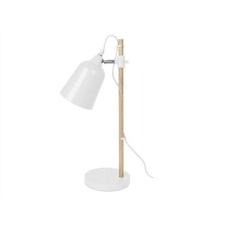 Leitmotiv Tischlampe Holzimitat-weißes Metall ø12x14x48,5cm
