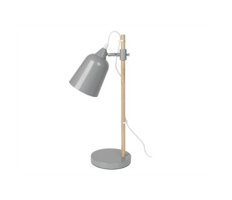 Leitmotiv Table lamp Wood-like gray metal ø12x14x48,5cm
