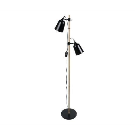 Leitmotiv Vloerlamp Wood-Like 2 zwart metaal Ø15x14x149cm