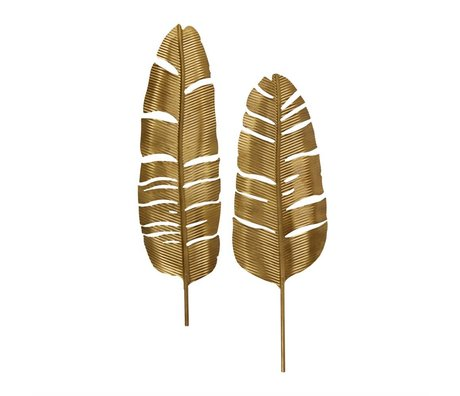 BePureHome Feathers antiek brass goud metaal set van 2