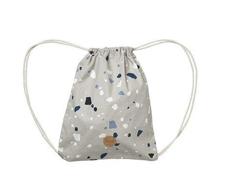 Ferm Living Terrazzo sac de sport en coton gris 28x36cm
