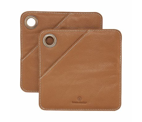 Housedoctor Panels 2 pcs brown leather 20.5x20.5cm