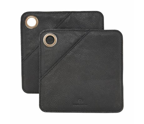 Housedoctor Panels 2 pcs black leather 20.5x20.5cm