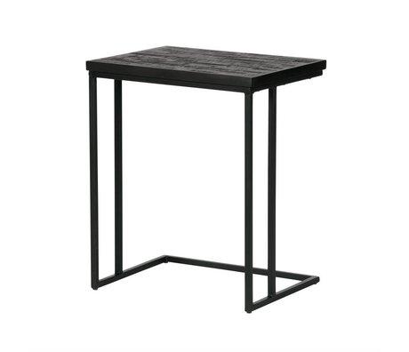 BePureHome Table d'appoint de partage bois noir en forme de U 55x45x35cm