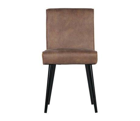 BePureHome Revolution chaise à manger de la crème en cuir marron 84x44x52cm