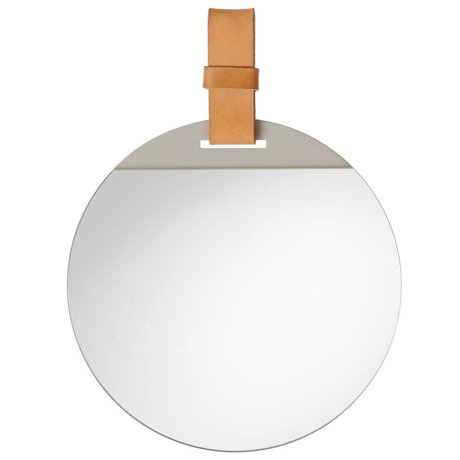 Ferm Living Enter mirror with leather strap 26x36cm