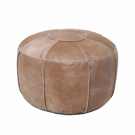 HK-living Pouf rustic brown leather 50x50x30cm