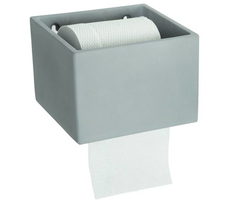 Housedoctor Toilet roll holder cement gray 14,5x15xh10cm