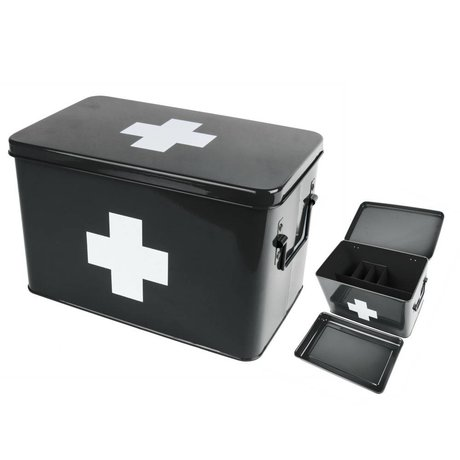 pt, Medicine storage box black metal 31,5x19x21cm