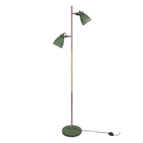 Leitmotiv Lampadaire bois métal vert bois se mêlent Ø28x152cm