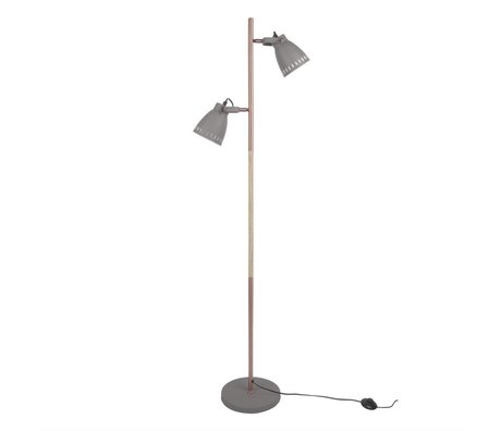 Leitmotiv Stehlampe mingle Holz grau Metall Holz Ø28x152cm