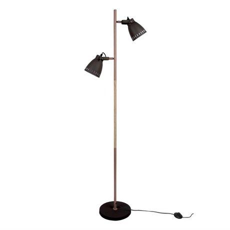 Leitmotiv vloerlamp mingle wood zwart metaal hout Ø28x152cm