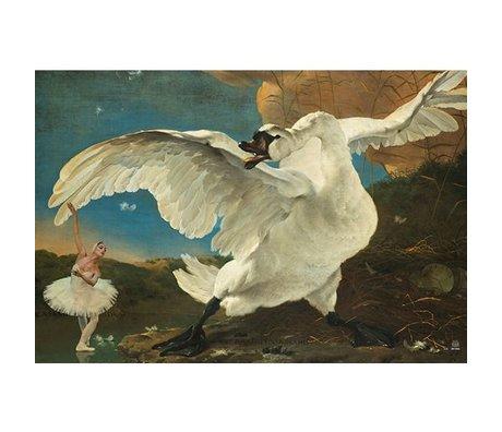 Arty Shock Peinture ligne Jan asse - Menacée Swan XL multicolore Plexiglas 150x225cm