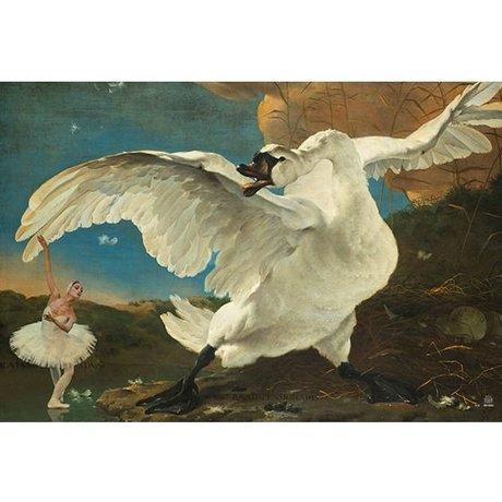Arty Shock Malerei Jan asse Linie - Bedroht Swan XL mehrfarbige Plexiglas 150x225cm