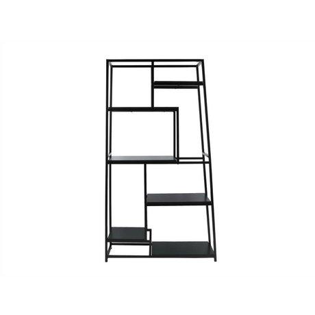 Leitmotiv Bookcase black steel 178x102x33cm