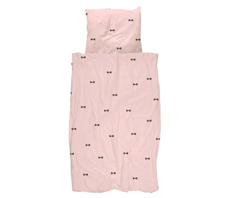 Snurk Beddengoed Duvet cover Bow Tie Pink 140x200 / 220 incl cushion cover 60x70cm