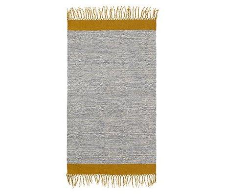 Ferm Living Tapis gris chiné coton jaune 60x100cm