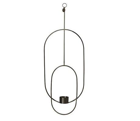 Ferm Living Waxinelichthouder Deco oval schwarzen Metall 18.5x42x50cm