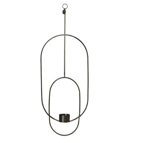 Ferm Living Waxinelichthouder Deco oval black metal 18.5x42x50cm