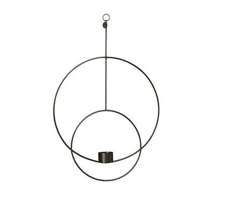Ferm Living Waxinelichthouder Deco circle black metal 30x45x4.5