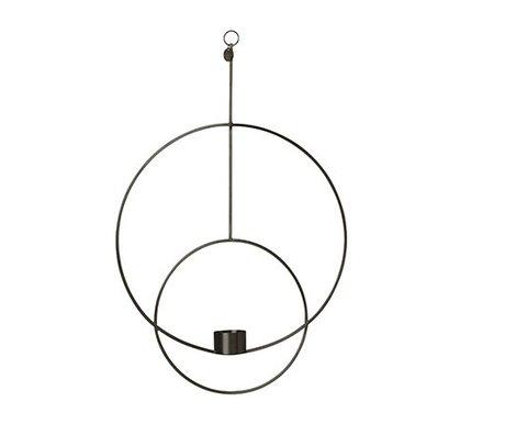 Ferm Living Waxinelichthouder Deco cirkel zwart metaal 30x45x4.5