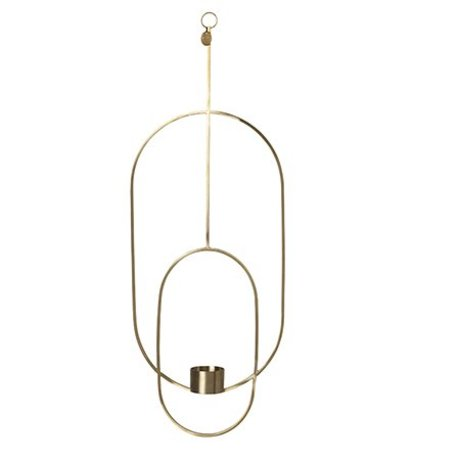Ferm Living Waxinelichthouder Deco oval gold metal 18.5x42x50cm