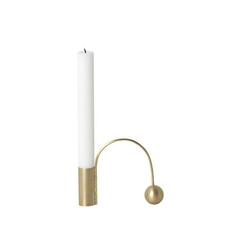 Ferm Living Candlestick Équilibre 12.5x9x2.6cm en métal doré