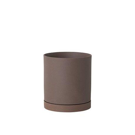 Ferm Living Flowerpot Sekki red brown ceramic large Ø15.7x17.7cm