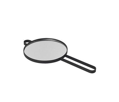 Ferm Living Miroir main Poise verre métal noir 28.5x14.5x1cm