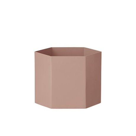 Ferm Living Pot Hexagon roze Ø18x14cm Extra large