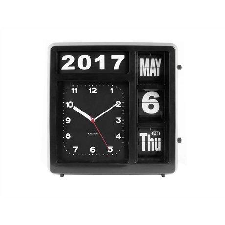 Karlsson Table / Horloge murale Retournez 33x32cm en plastique noir