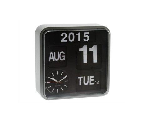 Karlsson Wall clock Mini Flip silver plastic 24,5x24,5cm