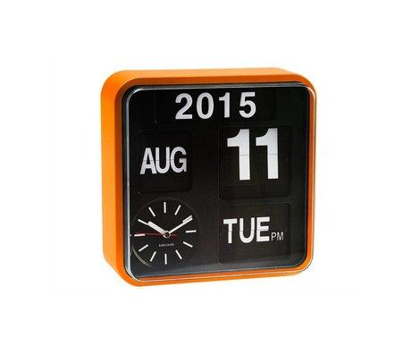 Karlsson Wandklok Mini Flip oranje kunststof 24,5x24,5cm