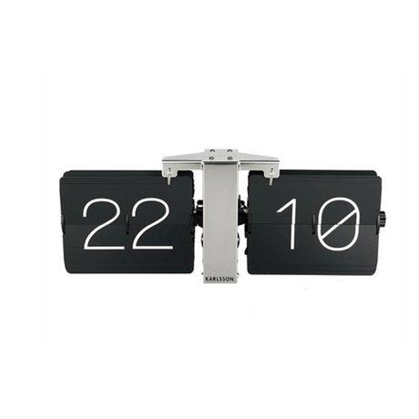 Karlsson Pas de Flip Clock acier argenté Case 14x36cm