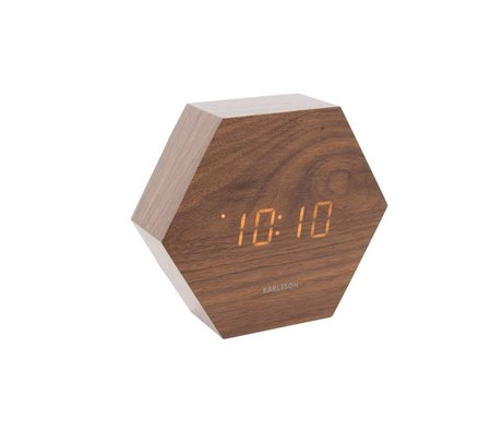 Karlsson Table / Alarm clock Hexagon brown wood 11x13cm