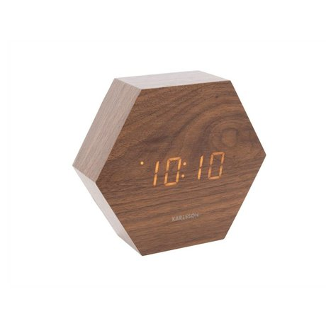 Karlsson Table / Réveil Hexagone bois brun 11x13cm