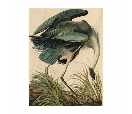 KEK Amsterdam Houten paneel  Reiger/Heron in gras S 45x60cm