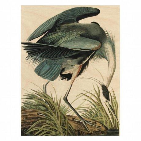 KEK Amsterdam Houten paneel Reiger/Heron in gras M 60x80cm