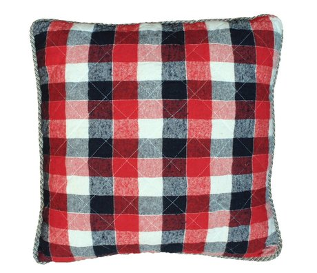 Storebror Chequered Cushion cotton red blue white 50x50cm