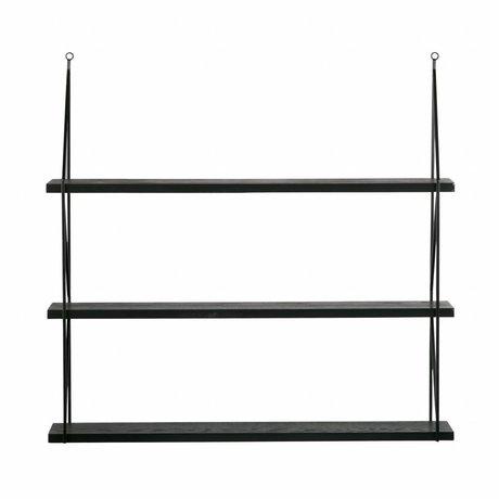 LEF collections Wandrek Kiki zwart metaal met 3 planken 80x16x75cm