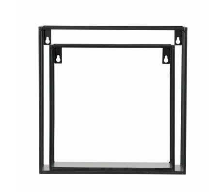 LEF collections Wandregal Meert schwarz Metall 16x50x8cm - Copy