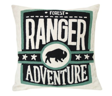 Storebror Cushion Ranger embroidered cotton 50x50cm