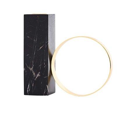 OYOY Candlestick marble black metal 15x15,5cm
